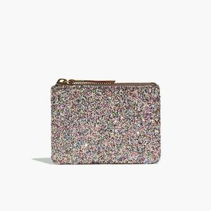 Madewell Leather Pouch Wallet in Glitter